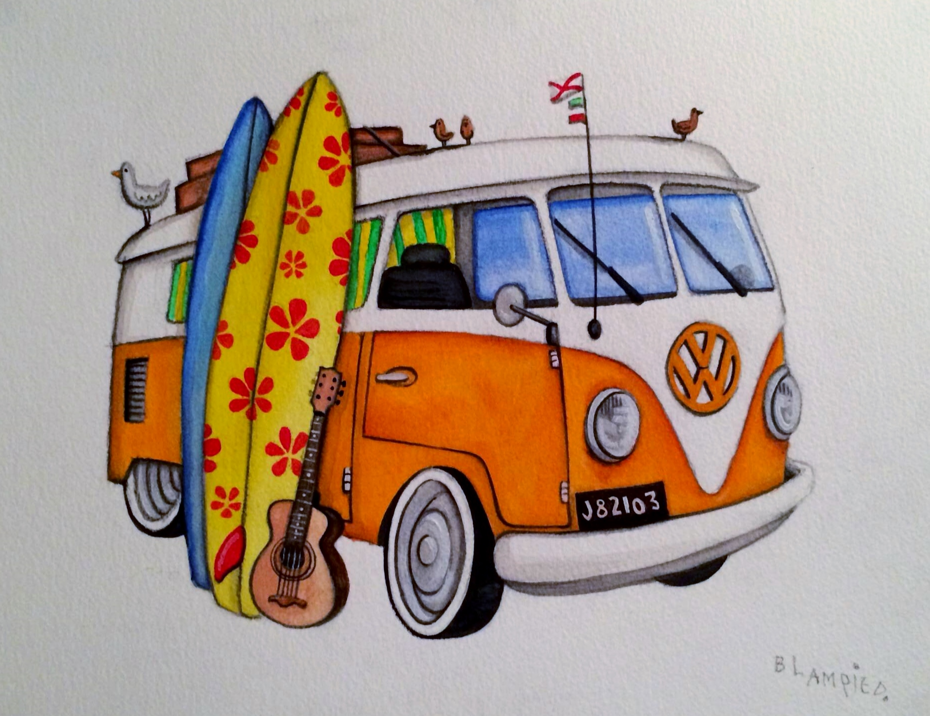 V W Camper Vans Orange Van